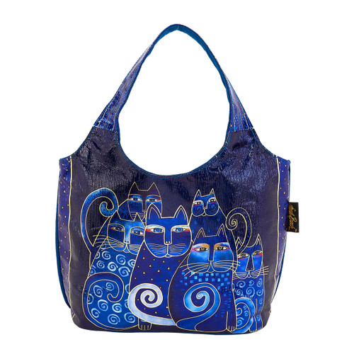 Laurel Burch Indigo Cats Foiled Small Scoop Tote - LB6250