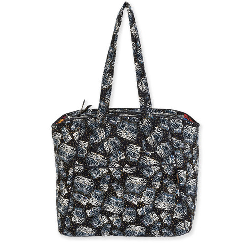 Laurel Burch Polka Dot Cats Quilted Cotton Large Shoulder Tote - LB6331