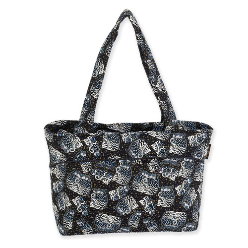 Laurel Burch Polka Dot Cats Quilted Cotton Medium Shoulder Tote - LB6332