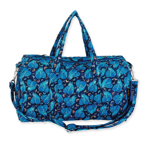 Laurel Burch Indigo Cats Quilted Cotton Weekender Bag LB6318