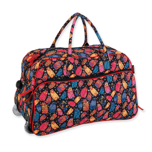 Laurel Burch Multi Feline Cats Quilted Cotton Wheeled Duffle Bag LB6304