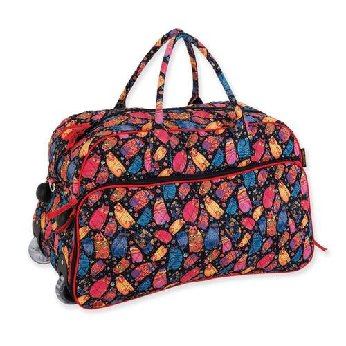 Laurel Burch Multi Feline Cats Quilted Cotton Wheeled Duffle Bag LB6304