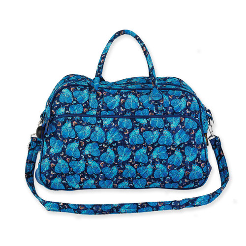 Laurel Burch Indigo Cats Quilted Cotton Wheeled Duffle Bag LB6319