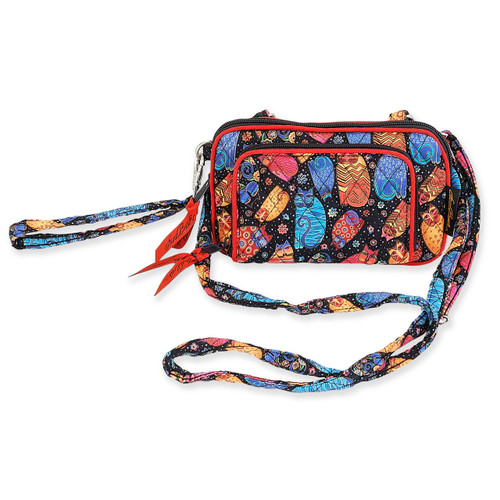 Laurel Burch Multi Feline Cats Quilted Cotton All in One Crossbody Bag LB6309
