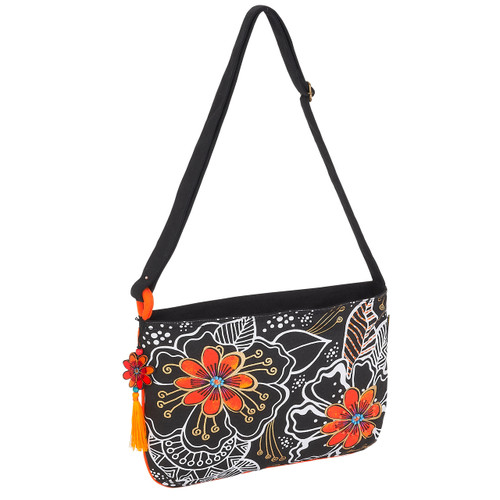 Laurel Burch White on Black Floral Crossbody Tote - LB6063