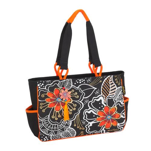 Laurel Burch White on Black Floral Medium Tote - LB6062