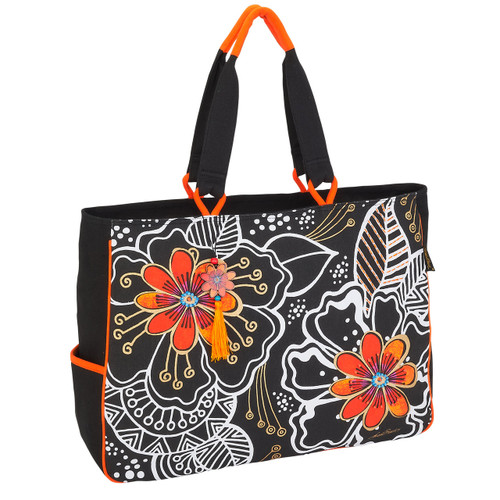 Laurel Burch White on Black Floral Oversized Tote - LB6060