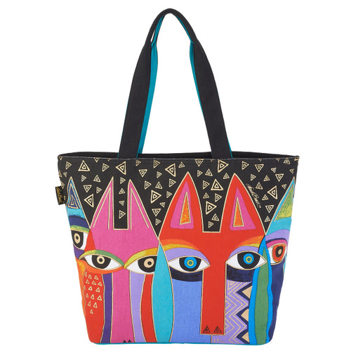 Laurel Burch Tribal Cats Large Shoulder Tote - LB6021
