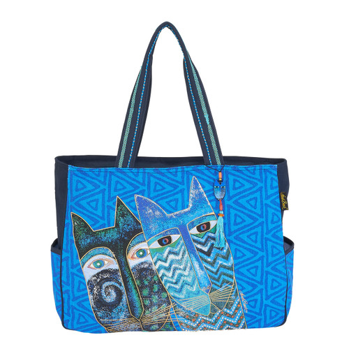 Laurel Burch Blue Cats Oversized Tote - LB6030
