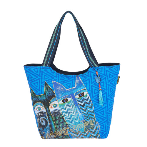 Laurel Burch Blue Cats Scoop Tote - LB6031