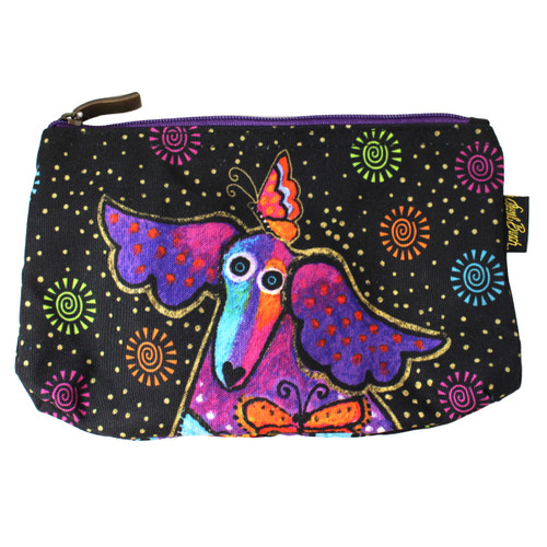 Laurel Burch Dog Papillion 10x6 Cosmetic Bags LB6220C