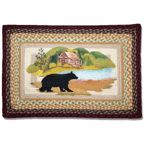 Wilderness Cabin Bear 20x30 Hand Printed Braided Floor Rug PP-395