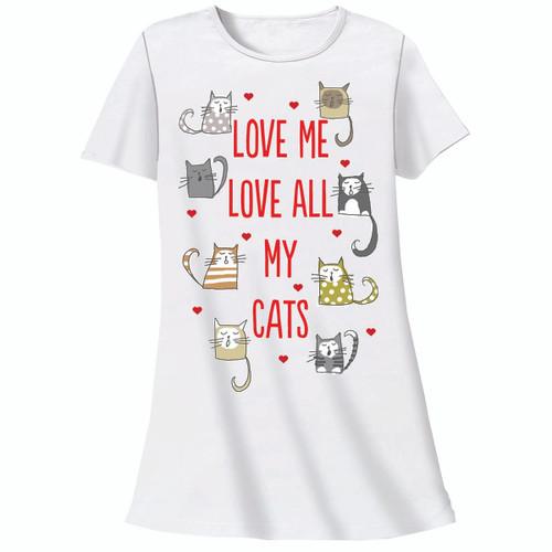 "Cat Theme Sleep Shirt Pajamas ""Love All My Cats"" 326OT"