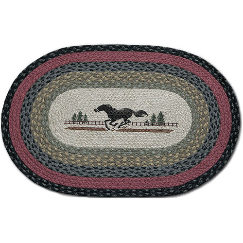 Horse 20x30 Hand Printed Oval Braided Floor Rug OP-238
