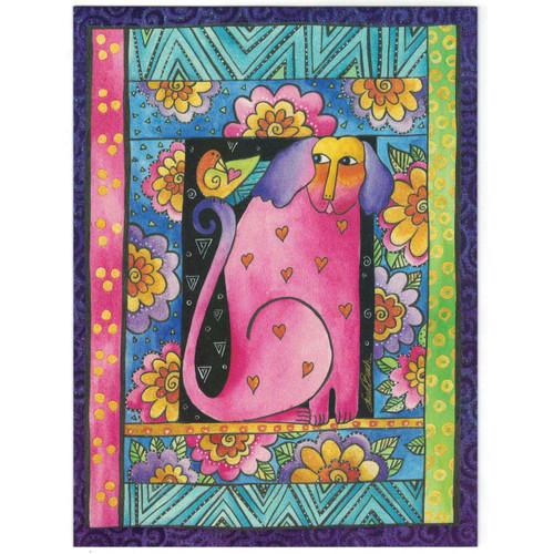 Laurel Burch Birthday Glitter Card - Pink Puppy Dog - 20806