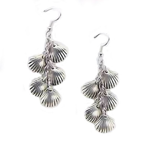 Silver Tone Four Sea Shells Earrings 43397