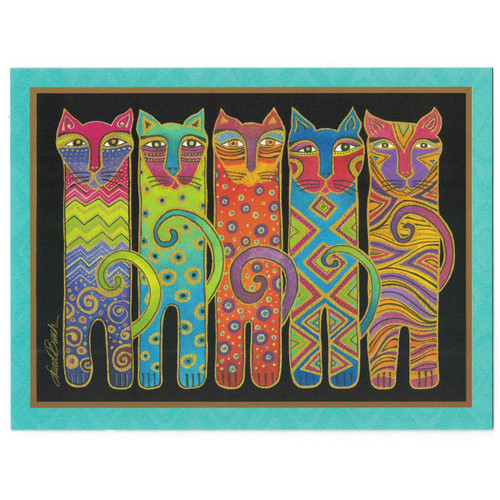 Laurel Burch Birthday Greeting Card - Tall Cats - 20602
