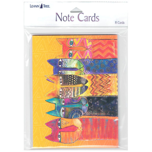 Laurel Burch Cat Blank Note Cards Colorful Felines 8 in a Package - 35541