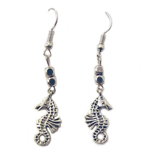 Silver Tone Seahorse Earrings 43400