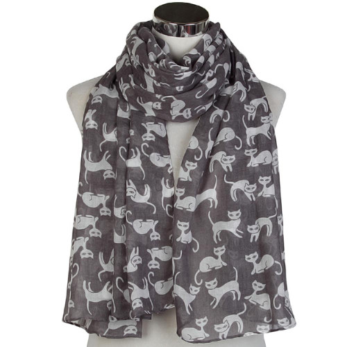 Charcoal and White Cats Scarf - CC105
