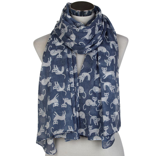 Blue and White Cats Scarf - CC106