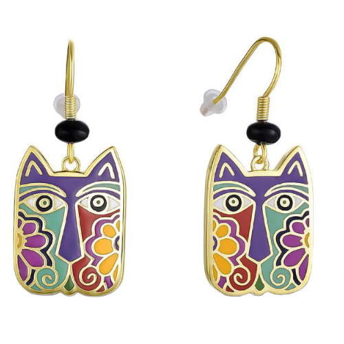 Colorful Blossoming Cat Face Laurel Burch Drop Earrings - 5140