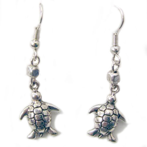 Silver Tone Sea Turtle Earrings 43404