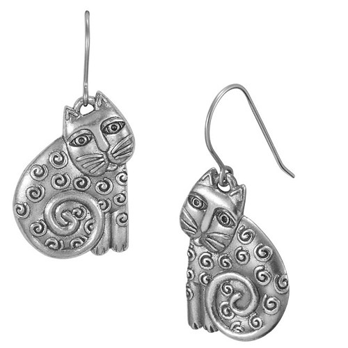Jubilee Cat Feline Laurel Burch Drop Earrings - 5114