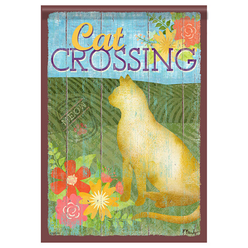 Cat Crossing Garden Flag 46474