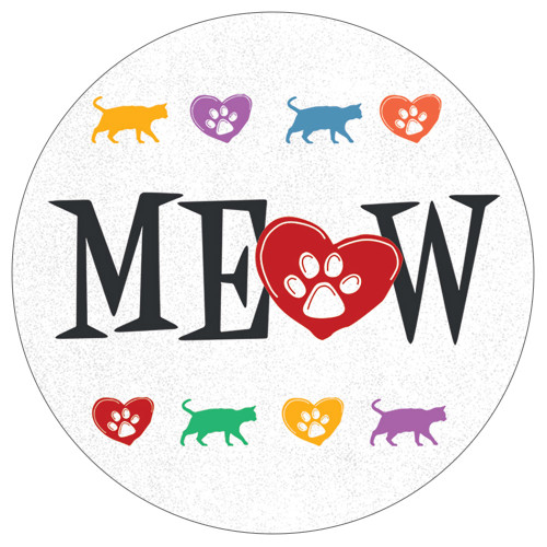 Meow Cat Lover Stoneware Round Car Coaster - CB72917
