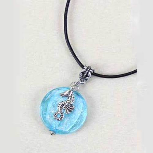 Blue Glass Bead Seahorse Necklace 43419