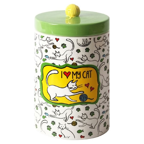 Green Ceramic Cat Treat Jar with Ceramic Lid 45595A