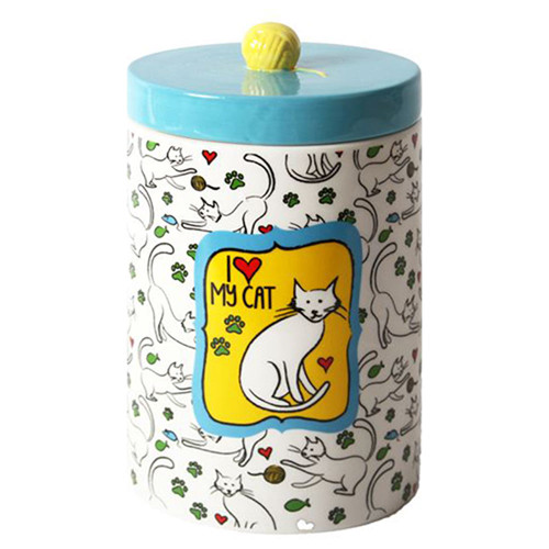 Blue Ceramic Cat Treat Jar with Ceramic Lid 45595C