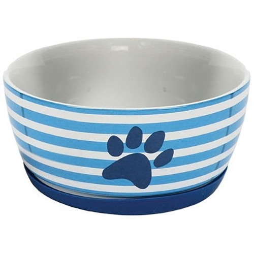 Blue and White Striped Pet Bowl Color - 40061B