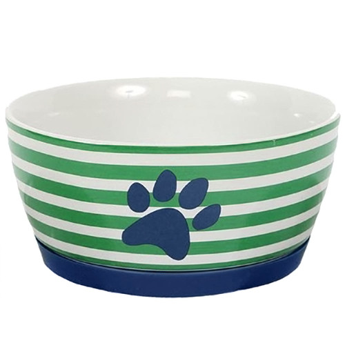 Green and White Striped Pet Bowl Color - 40061C