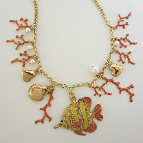 Gold Tone Nautical Necklace 43487