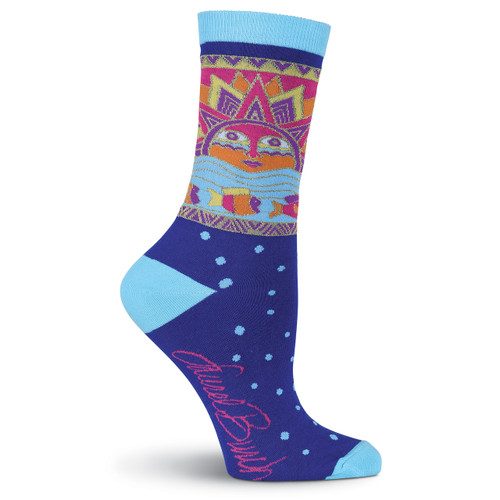 Laurel Burch Sun and Fish Blue Crew Socks