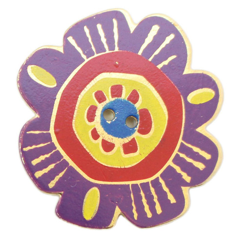 Laurel Burch Button - Purple Flower with Red, Yellow, and Blue - Dill Button