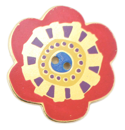 Laurel Burch Button - Red Flower with Metallic Gold and Purple Accents and Blue Center Button - Dill Button