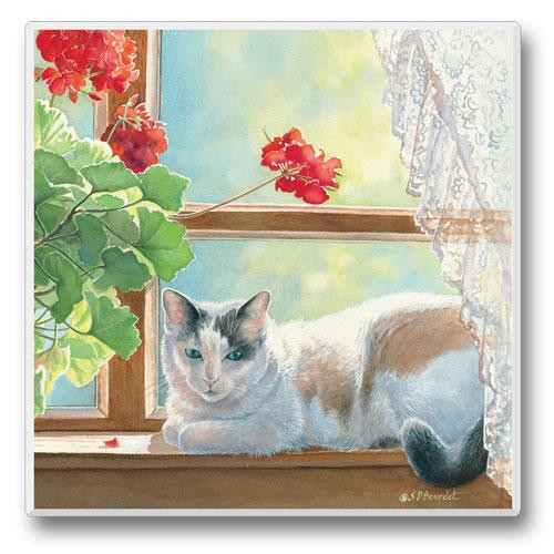 Cat in a Window - 4 inch - Stone Coaster - Sold Individually