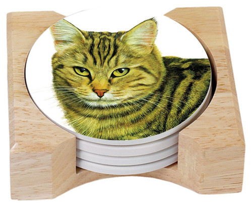 Tabby Cat Stoneware Coasters and Wooden Holder - Set of 4 - 86541