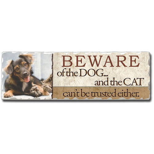 "Cat and Dog Stone Sign ""Beware of the Dog ... and the Cat"" - 35015"