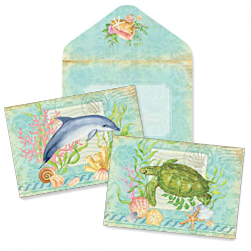 Boxed Dolphin and Sea Turtle Note Cards 10 Pack 09-045