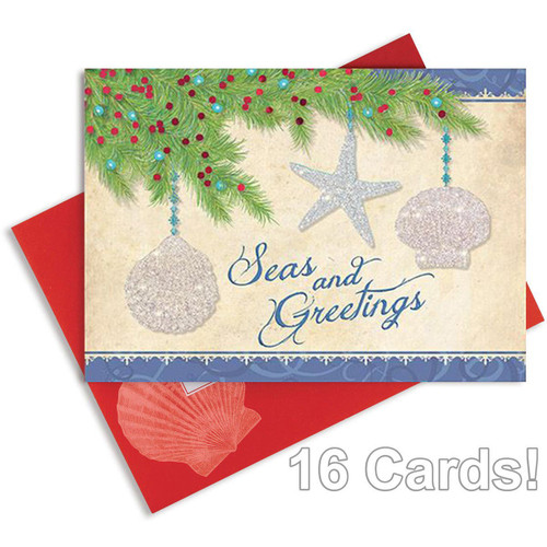 Beach Seasons Greetings 5x7 Christmas Card and Envelope