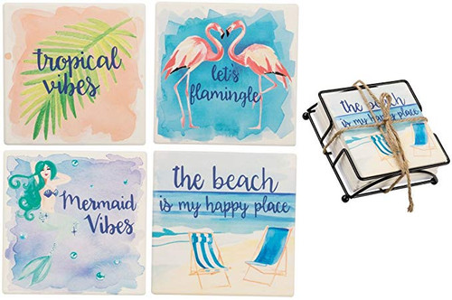 Set 4 Beach Watercolor Scenes Stone Coasters and Holder - 35115