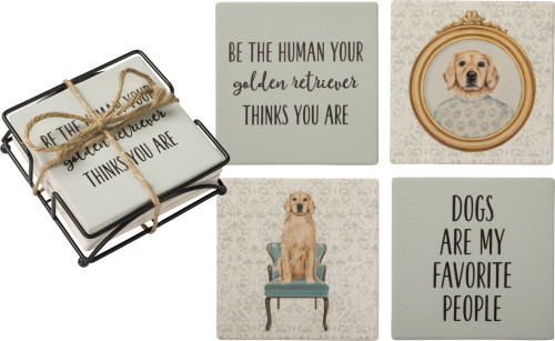 Set 4 Golden Retriever Dog Stone Coasters with Holder