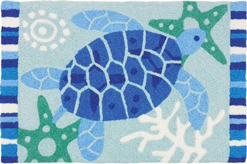 Blue Sea Turtle Starfish - Floor Accent Rug - JB-SZ017