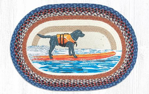 Surf Dog Hand Printed Oval Braided Floor Earth Rug 20x30 - OP-580