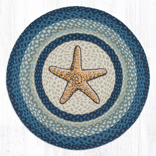 "Starfish Round Hand Printed Braided Floor Earth Rug 27"" - RP-362"