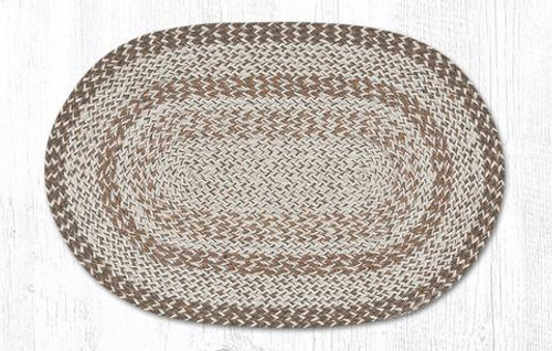 "Tan Brown Earth Oval Braided Floor Mat Rug 20""x30"" - ITC-014"